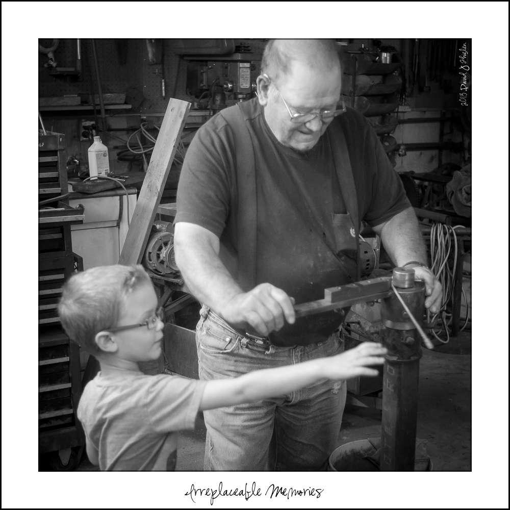 Helping Grandpa in the shop